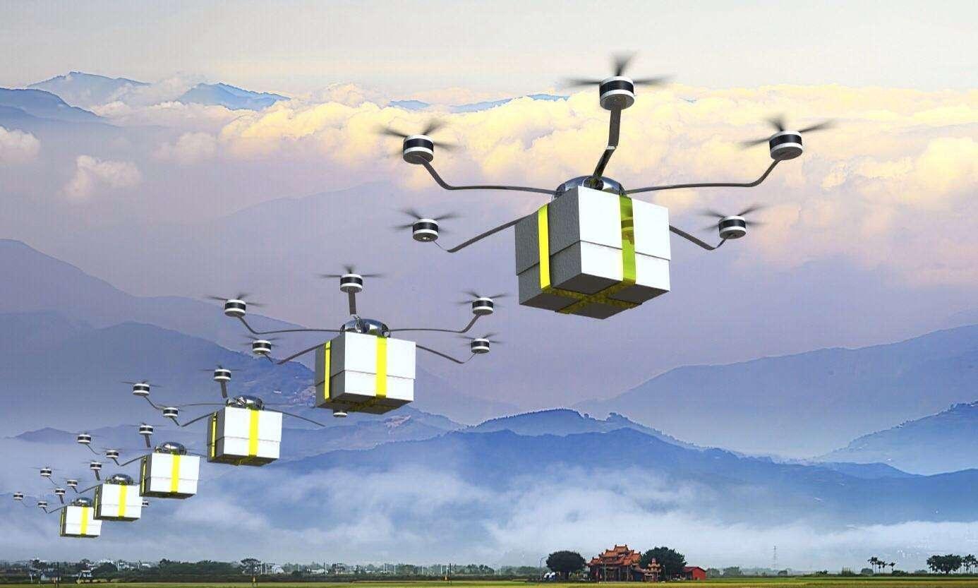 国内首次无人机群组跨海快递飞行